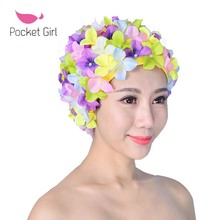 2017 Women 3D Petals Swimming Caps Fashional Long Hairs Ear Protection Waterproof Swimming Hat Large and Multi Colors Swim Cap(China)