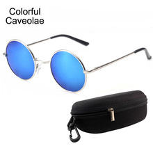 Colorful Caveolae Sunglasses Mens Fashion Polarized UV400 Mans Brand Glasses Gold Driving Name Male Sun Glasses(China)