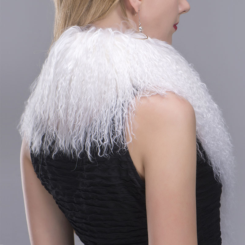 tibet lamb fur scarf white 5