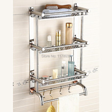 stainless steel bathroom towel rack,wall mounted three layer shelving,modern double towel bars and hooks,Free Shipping J16395(China)