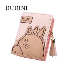 DUDINI New Fashion Women Wallet Cartoon Animation Small Leather Wallet Cute Totoro Tassels Zipper Clutch Coin Purse Card Holder