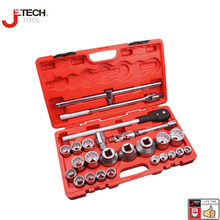 "Jetech 26pcs 3/4"" 1"" dr. 12 point socket set with ratchet extension bar 8"" mechanics heavy duty tools sleeve wrench toolkit"