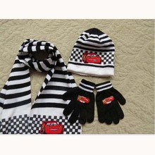 3pc/ Set Hot Sale Autumn Winter Kids Knitted Hat Scarf Gloves For Boys and Girls Children Chrismas Gifts Knitted Caps(China)
