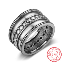 925 Sterling Silver Rings For Women Three Layers 12mm Width Vintage Rings Silver Jewelry Women Wedding Rings(RI102782)(China)