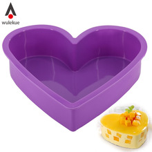 Wulekue Silicone Baking Pastry Molds Big Love Heart Shape Cake Mold Mousse Bread Mould Bakeware DIY Non-Stick Cake Pan(China)