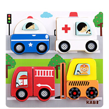 Baby Toys New Cartoon Animal/Vehicle 3D Puzzle Wooden Toys Scenes Puzzle Child Educational Learning Birthday Gift(China)