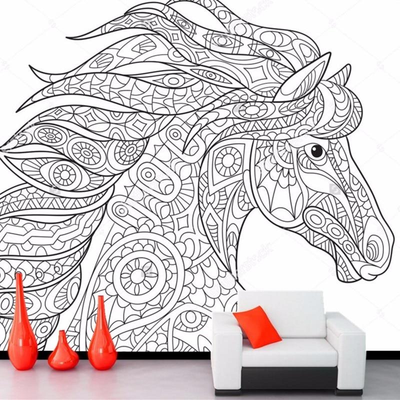 Custom childrens wallpaper,horse,cartoon murals for the living room bedroom restaurant background wall waterproof wallpaper<br>