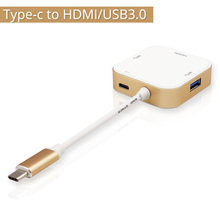 Aluminum USB-C Type-C HUB Data Charger to HDMI Two 3.0 USB Multiport Adapter Power For 12inch Macbook Monitor Projector HDTV