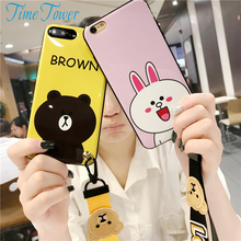 Time Tower Phone Cases For Iphone 8 Case 6S Soft Back For Iphone7 Plus Cover Silicone Clear TPU Brown Bear Rabbit Lanyard Luxury
