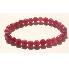 Discount Wholesale High Quality Genuine Natural Red Ruby Faceted Round Loose beads 6mm Stretch Bracelets 01379(China)
