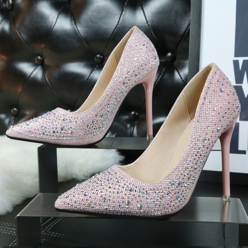 Korean Fashion Shoes Women In High Heels Wedding Sweet Metal Heel Stiletto Diamond Shoes Ladies Pumps Heels Party Shoes Gray<br><br>Aliexpress