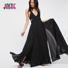 Buy Jastie Summer Maxi Dress Halter Neck Adjustable Ties Back Sexy Dress Slits Layered Hem Chic Boho Beach Dress Long Women Vestidos