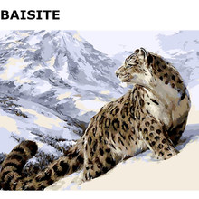 BAISITE DIY Painting By Numbers Frameless Wall Art Leopard Hand Painted Oil Painting On Canvas Home Decor Unique Gift E517(China)