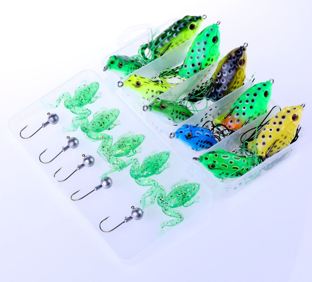 2017 sales fishing bait  15pcs new ray  frog Luya bait frog frog frog suit big small soft bait 5 lead head hook box fish<br><br>Aliexpress