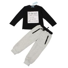 Baby Boys clothes 2017 New Winter and Autumn Dark Grey long sleeve t-shirt + casual long pants 2pc suit kids clothes