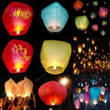 Hot selling10PCS Mix Color Wishing Lamp Chinese Lanterns Kongming Flying Paper Sky Lanterns Wedding Party Decoration Lantern