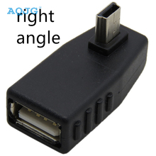 1 pcs Mini USB Male to USB Female 90D OTG Adapter Left Right Angle adaptor For GPS Car DVD Player AQJG