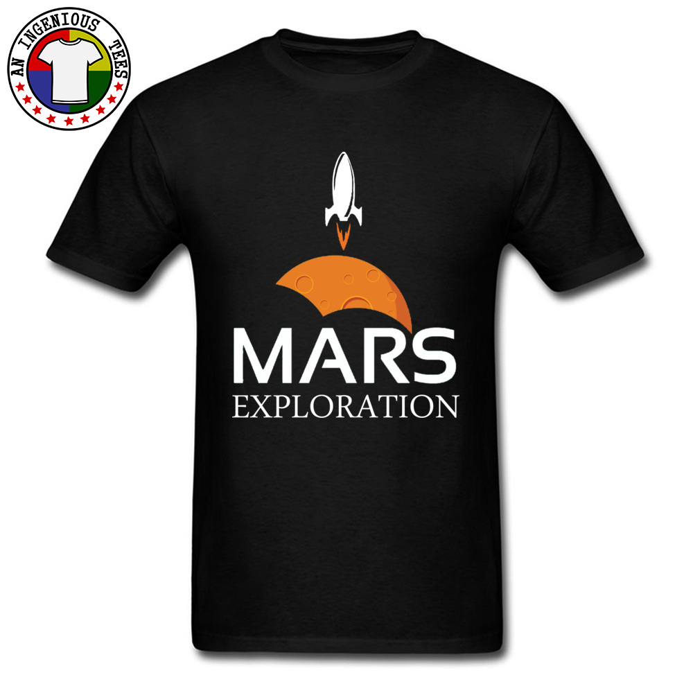 Mars-Exploration-Space-Rockets Design Tops Shirt Short Sleeve for Men All Cotton Autumn Crew Neck T Shirts Normal Tees Slim Fit Mars-Exploration-Space-Rockets black
