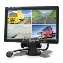 DIYSECUR DC12V-24V 7 Inch 4 Split Quad Screen Display Color Rear View  Monitor for Monitoring System