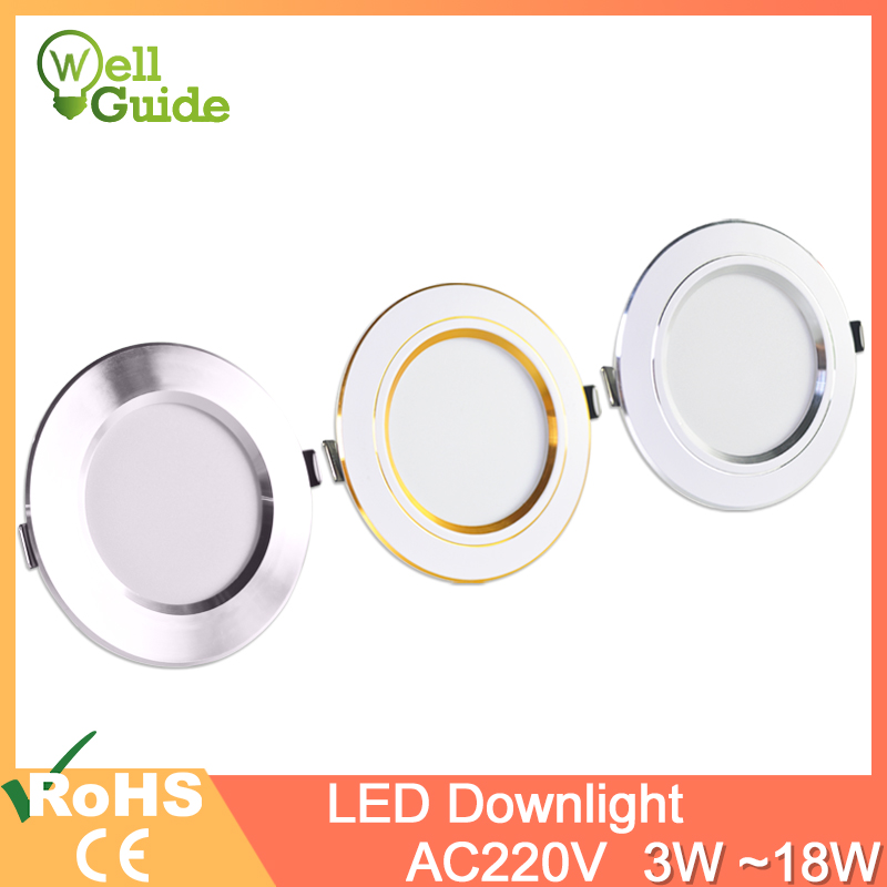 Downlight gold Silver White Ultra Thin Aluminum 3W 5W 9W 12W 15W 18W led downlight AC220V 240V Round Recessed LED Spot Lighting(China)