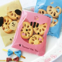 100pcs new lovely little bear Bear, cat, dog OPP Plastic Christmas Birthday Gift Bag Wedding Party Cookie Bag Candy Packaging