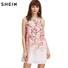 SHEIN Pink Rose Print Tank Dress Summer Casual Boho Dress Sleeveless Round Neck Floral Cut Out A Line Short Dress