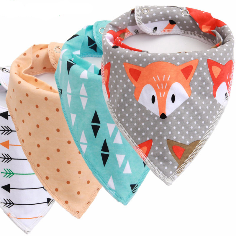 Reusable Washable Cotton Baby Bibs Cotton Adjustable Baby Meal Bib Infant Bibs Burp Cloth Print Arrow Wave Triangle Baby Bibs