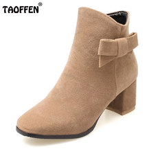 TAOFFEN Ladies High Heel Warm Ankle Boots Women Square Heel Bowtie Winter Shoes Women Sweet Fashion Daily Footwears Size 34-43