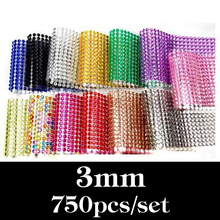3MM 750Pcs/set Car Auto Interior Computer Exterior Sticker Bling Crystal Design Rhinestone Self Adhesive Scrapbooking Stickers(China)