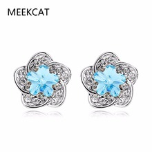 MEEKCAT Luxury Silver Color Flower Small Stud Earrings Boucle d'oreille with Blue Zircon Stone Women Birthday Gift Bijouterie