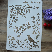 DIY Craft Bird Vine Flower Layering Stencils For Walls Painting Scrapbooking Stamps Album Decorative Embossing Paper Cards