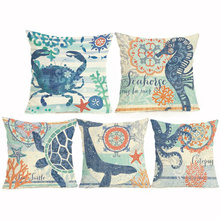Marine Elements Ocean Animals Cotton Linen Cushion Covers Blue Sea Turtle Horse Home Decor Pillowcase Octopus Sofa Cushion Case