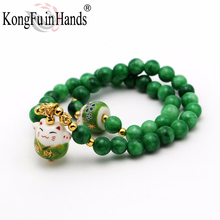 Nature Stone green 8mm Beads Multilayer Bracelet Lucky Cat Pendant Cute OL Fashion Jewelry girls Christmas gift free shipping(China)