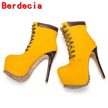 Berdecia bota feminina platform ankle boots punk shoes sexy high heel lace up cowboy boots female winter snow boots ladies