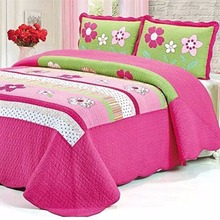 FADFAY 100% Cotton Pink Girls Floral Bed Quilt Sets Kids Bedding Sets Twin Queen Size Flower Bedding Sets Patchwork Bedspread(China)