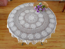 "130cm(51.18"") Round Crochet hook flower round tablecloth pastoral hollow cotton tablecloths white"