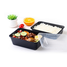 10 PCS/Pack Rectangle Disposable Lunch Food Meal Storage Box Plastic Microwave Packaging Box Fast Food Box Black Takeaway Box