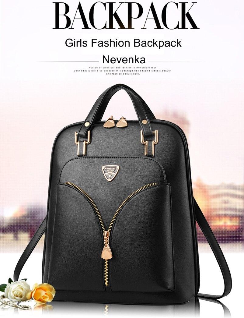 Nevenka Anti Theft Leather Backpack Women Mini Backpacks Female Travel Backpack for Girls School Backpacks Ladies Black Bag 201820