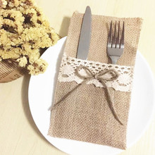 free shipping wholesaler of 50 pieces of Lace linen tableware bag holiday wedding knife fork bag red wine bag