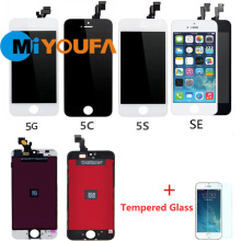 AAA Replacement Full LCD Screen For iPhone 4 4S 5 5S 5C SE Lcd Display with Touch Digitizer Assembly +Tempered Glass Film