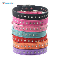 1 row Rhinestone Diamond Suede Leather Puppy Dog Cat Necklace Collars(China)