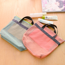 2017 Travel Women Mesh Cosmetic Bag Make Up Organizer New Fashion Portable Necessaire Purse Bag Handbag Toiletry Bag Bolas