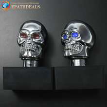 Universal Chrome Skull Auto Car Manual Gear Knob Stick Shift Speed Lever Gearstick with LED Lights(China)
