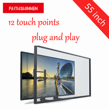 touch screen frame 55 inch multi touch screen overlay lcd panel touch overlay kit make your tv touch screen 12 points(China)