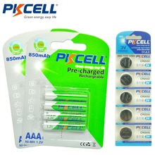 2Pack/8Pcs PKCELL AAA Rechargeable Battery aaa 1.2V Ni-MH 850mAh 3A Rechargeable Batteries (Giving CR2032 Lithium Battery)