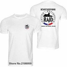 RAID FRENCH POLICE Men's T Shirt ANTI-TERRORISM UNIT GIGN Man Black O Neck Cotton Tees T-shirts Tops