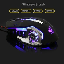 Backlight Gaming Mouse 3200DPI 6 Button LED Optical Mouse Macro Programmable Mice USB Computer Mouse Gamer PC for LOL Laptop(China)