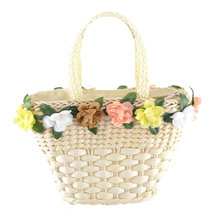 Women's Straw Knitted Handbag Colorful Flower Decoration Beach Bags With Carrying Handle Design