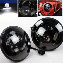 "For Jeep JK 7"" Round Headlight Led For Jeep Wrangler 97-15 Hummer Toyota Defender 7"" LED Harley Motorcycle Headlamp For Harley(China)"