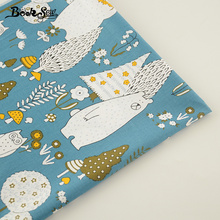 Cartoon Animals Designs 100% Cotton Bule Fabric Twill Home Textile Material Quilting Fabrics for Patchwork Bed Baby Kid Cloth